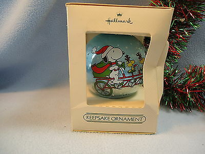 1982 Hallmark Christmas Ornament PEANUTS Satin Ball SNOOPY WOODSTOCK & Friends