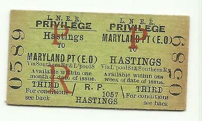 LNER ticket, Maryland Point to Hastings