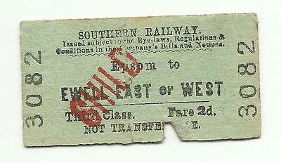 SR ticket, Epsom to Ewell East or West, 1948