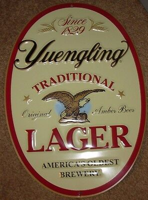 "YUENGLING TRADITIONAL LAGER OVL 16"" METAL TACKER SIGN craft beer brewing brewery"