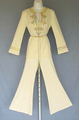 VINTAGE 1960s MOD ESTIVO BELL BOTTOM PANT SUIT EMBROIDERY SIZE 9/10 CREAM POLY