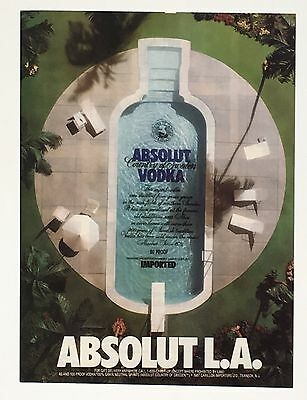 1989 Absolut Vodka Original Advertisement AD Los Angeles Swimming Pool Bottle