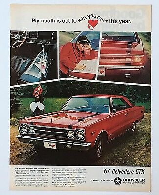 1967 Plymouth Belvedere GTX Original Advertisement AD Vintage Red Car