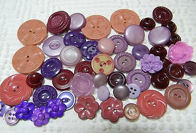 Vintage & Handmade Buttons in Shades of Purples~Flowers~House Dress~Burgundy