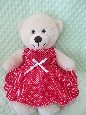 "DRESS  suitable Build a Bear  "" Red white spots  """