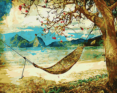 Painting by Number kit Tropical Sand Beach Sea Hammock Seascape Tree DIY DY7137