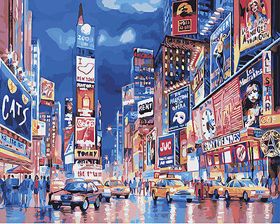 Painting by Number kit City Streetscape London Street Night Times Square DY7140