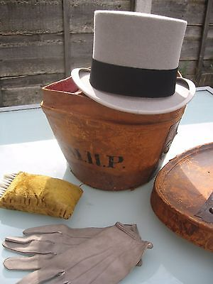 Antique/victorian Top Hat+Leather Case/box/bucket+Gloves+Brush By Gieves Bond St