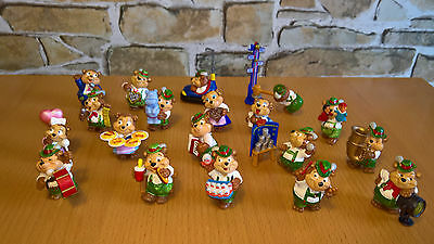 """JOB LOT of 19 different handpainted KINDER """"Teddy bears"""" figures from the 90's !"""