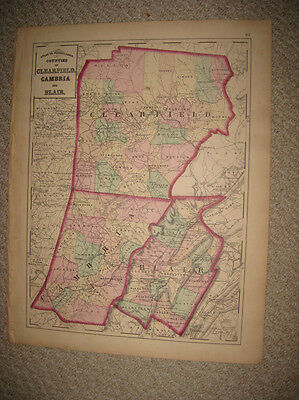 Antique 1872 Clearfield Cambria Blair County Pennsylvania Handcolored Map Nice