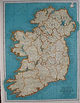 1938 Antique IRELAND Map Vintage Map of IRELAND Gallery Wall Art 3359