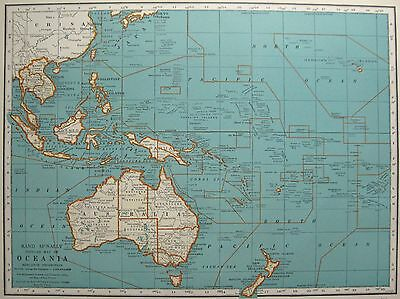 1937 Vintage OCEANIA Map Philippines SOUTH PACIFIC Map Gallery Wall Art #3361