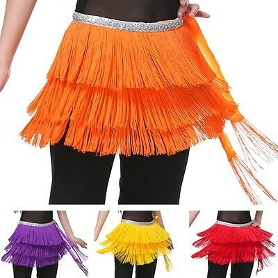 New Belly Dance Hip Scarf Pure Color 3 Layers Tassel Waist Chain Skirt Wrap Belt
