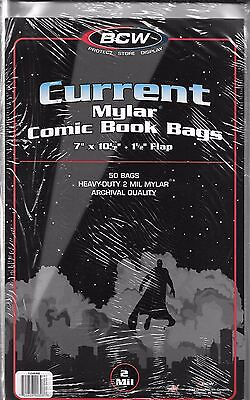 (50) Bcw Current Mylar Comic Book Size Bags / Covers - Free Shipping