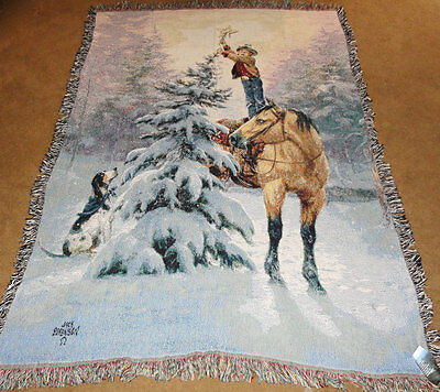 Upon The Highest Bough ~ Horse/Little Cowboy Christmas Tapestry Afghan Throw