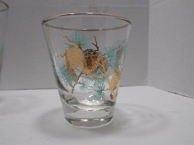 Libbey Glass Turquoise & Gold Pinecone/Pine Cone Tumbler