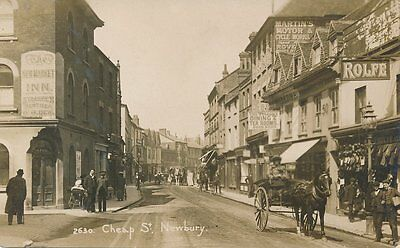 Berkshire Newbury Cheap Street Superb Real Photo Postcard Pub Shops