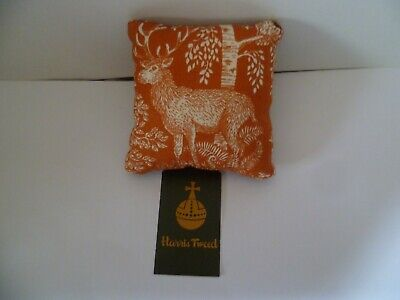 Pin Cushion Stag Design Cotton & Harris Tweed Iin Organza Gift Bag New