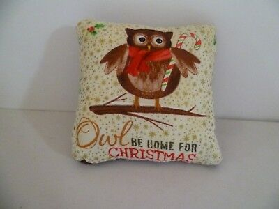 Owl Be Home For Christmas Pin Cushion Cotton & Red/Black Tartan Organza Gift Bag