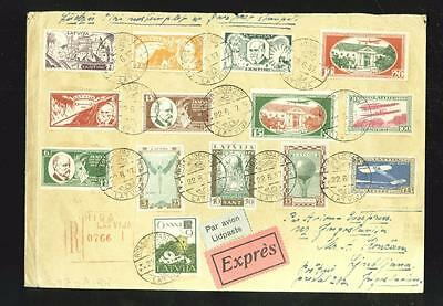 Latvia: cover with 2 better sets + more stamps on reverse
