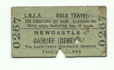 LNER ticket, Newcastle to Cardiff Central, 1948