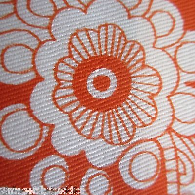 55Cm X 92Cm Orange Paisley Funky 1960S Vintage Fabric Cotton Drill Psychedelic
