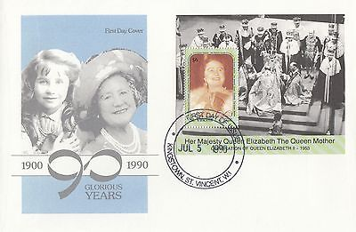 (95541) St Vincent FDC Queen Mother 90th Birthday minisheet 1990