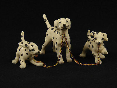 Dalmation Dog Chained to 2 Puppies Figurine - Japan