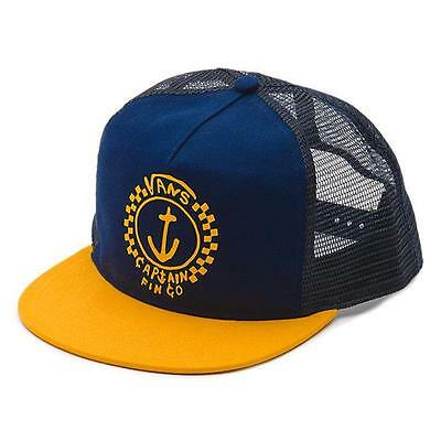 f69d14fe Vans Off The Wall Captain Fin Trucker Hat Mens Navy Yellow 100% Cotton New  NWT