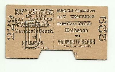 Midland & Great Northern (M&GN) ticket, Holbeach to Yarmouth Beach