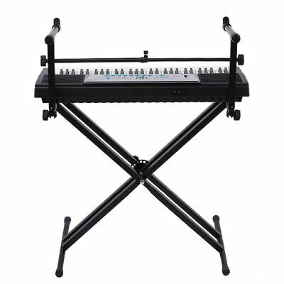 X Style Dual Music Keyboard Stand Electronic Piano Double 2-Tier Adjustable BY