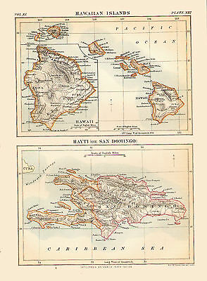 Diptych Style 1880 Color Map of HAWAII & HAITI - Detailed