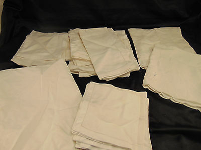 Vintage cotton cocktail & dinner napkins 26 pcs. mixed pattern lot white ecru