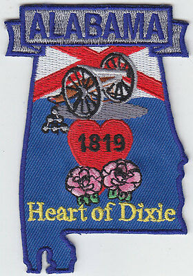 Alabama AL map patch HEART OF DIXIE state shaped 1819 Canon/Wildflowers