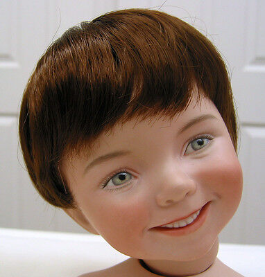 KELLY DOLL WIG Light Brown sz 13-14 short straight hair for all types of dolls