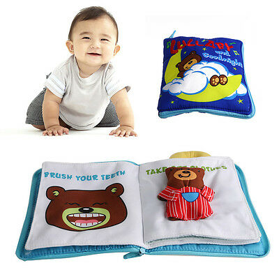 Baby Infant Early Cognitive Development Goodnight 3D Cloth Books Educational new
