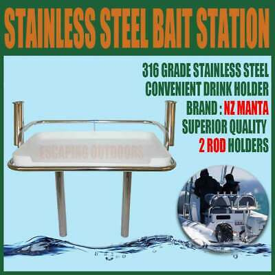 NZ Manta Bait Board with 2 Rod Holders 650 x 650mm 316 Steel Station Fishing