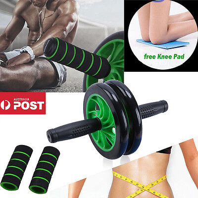 16CM Abdominal Waist Workout Exercise Gym Fitness Roller Wheels Knee Pad Green