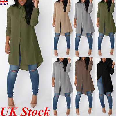 UK Womens Blouse Chiffon Long Sleeve Ladies Shirt Dress Loose Short Casual Tops