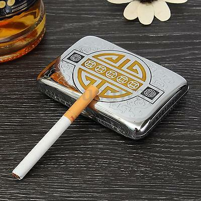Vintage Metal Wiredrawing Chinese Coin Silver Lucky Cigarette Case Box Holder