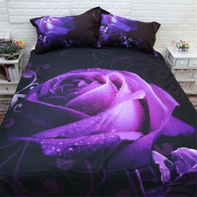 Purple Double Queen King Size Bed Pillowcases Quilt Duvet Cover Set Doona Covers