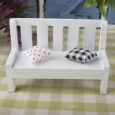 Garden Bench dollhouse miniature furniture 1/12 scale wood w/ cushions