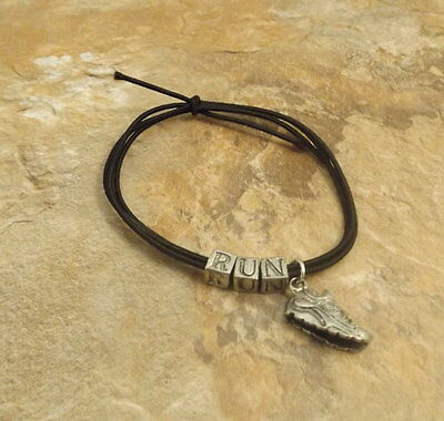"""BLACK STRETCH CORD BRACELET w/ """"RUN"""" letters & Running Shoe cross country/ track"""