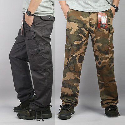Mens Tactical Army Camo Trousers Hiking Hunting Combat Cargo Straight Pants Gift