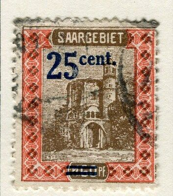 GERMANY SAAR;  1921 ( Apr) surcharged issue fine used 25pf. value