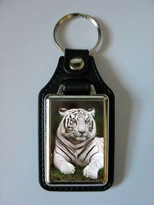 Leather Style White Bengal Tiger Picture Keyring Design No 1