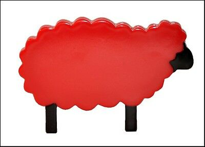 Lovely Red And Black Resin Figural Sheep Brooch Pin