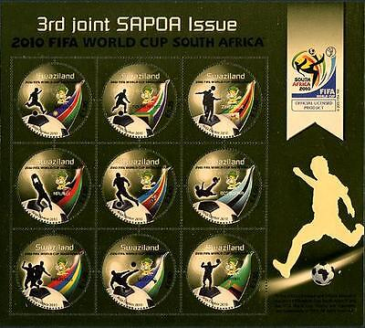 SWAZILAND Sc.# 803 2010 FIFA Soccer Cup Gold Stamp S/S
