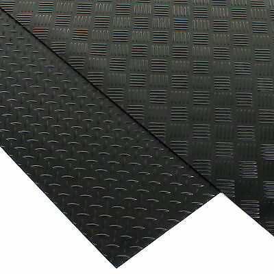 Rubber Flooring Matting Heavy Duty Black Mat Anti Slip Garage Checker Diamonds