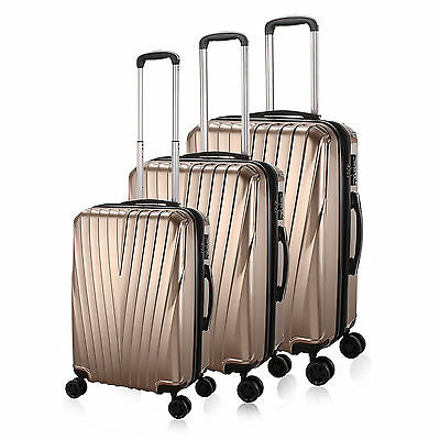 """20"""" 24'' 28"""" Hard Shell Travel Luggage,4 Wheel Cabin Trolley Suitcase,Gold"""